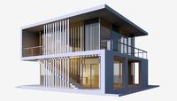 modern beach house 3d max