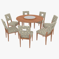 dining table chairs-8 chairs 3d 3ds