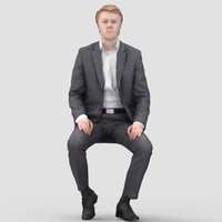 John Business Sitting 1 - 3D Human Model