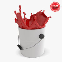 3d bucket paint splashes model