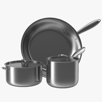 3d model stainless kitchen pot set