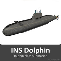 3d model realistic ins dolphin class submarine