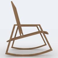 3d model wood rocking chair design