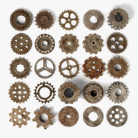 maya rusty gear wheels