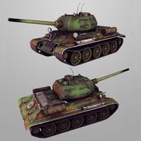 Tank T-34-85 Lowpoly