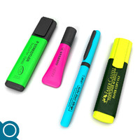 highlighters stationery 3d model