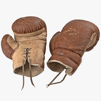 3d old leather boxing glove