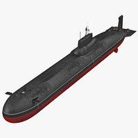 3d model of typhoon class submarine