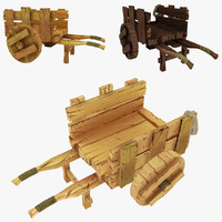 3ds max wooden cart wood