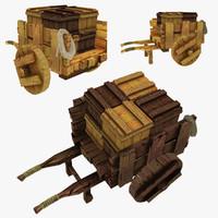 3d wooden cart boxes polys