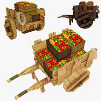 wooden cart pepper polys 3d obj
