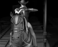 cowboy horse 3d obj
