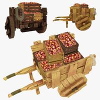 obj wooden cart potatoes polys