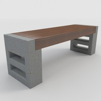 outdoor bench-3 bench 3d model