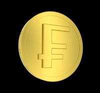 Golden Swiss Franc Coin