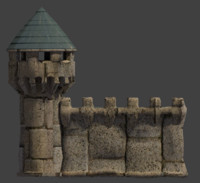 blend castle stone wall tower