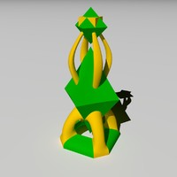 3d abstract chess queen lighting model