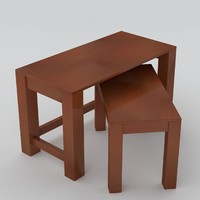 maya wooden small tables uv