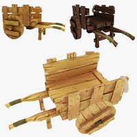 3d wooden cart wood model