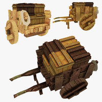 3d wooden cart boxes polys model
