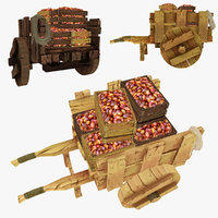 3d model wooden cart potatoes polys