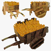 wooden cart bread polys 3d model