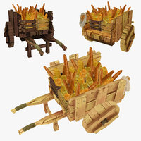 wooden cart assorted bread 3d model