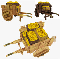 3ds max wooden cart lemons polys