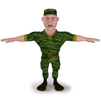 3d model cartoon soldier toon