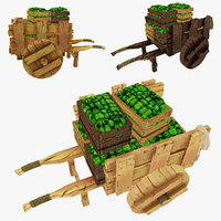 wooden cart green peppers 3d model
