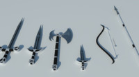 medieval weapon set 3d model