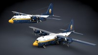 c-130 hercules military transport 3d model