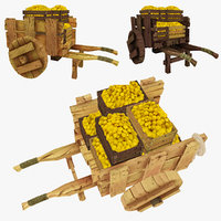 3d model wooden cart lemons polys