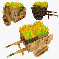 3d model wooden cart corn