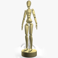 3ds max wooden mannequin character female