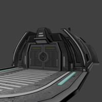 3ds sci-fi landing building