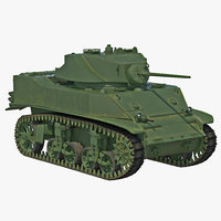 m5a1 stuart light wwii 3d model