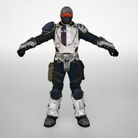 3d modern warrior soldier animation
