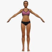 fitness athlete female 3d 3ds