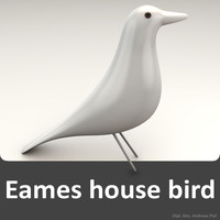 3d eames house bird white model