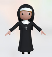 Rigged Cartoony Character: Nun