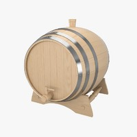 3d wooden wine barrel model