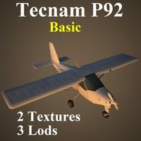 tecnam p92 basic 3d model