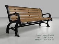 obj vintage bench