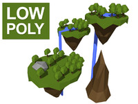 free max model low-poly floating islands
