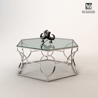 argent metal cocktail table 3d model