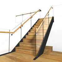 chrome glass wood staircase 3d model