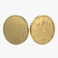 3d italian euro coin 50 model
