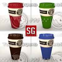 3d model starbucks mug coffe