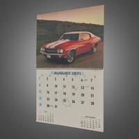 wall calendar 3d model
